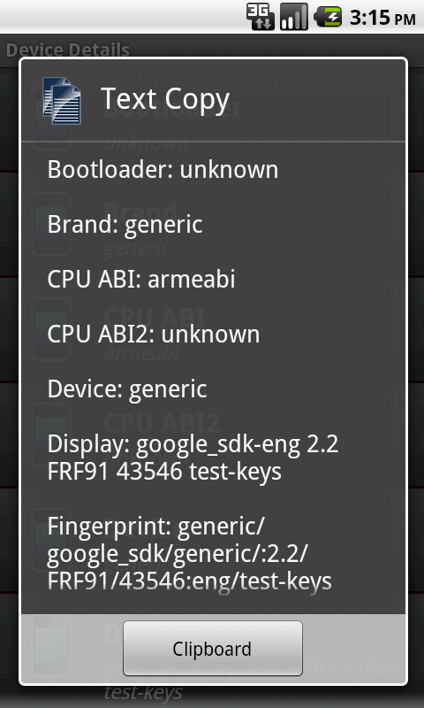 SIM Details - Device Details - screenshot