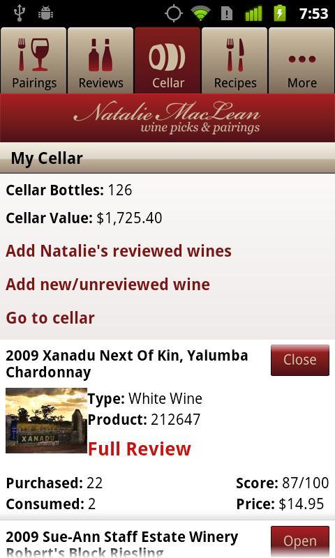 Natalie MacLean Wine Reviews - screenshot