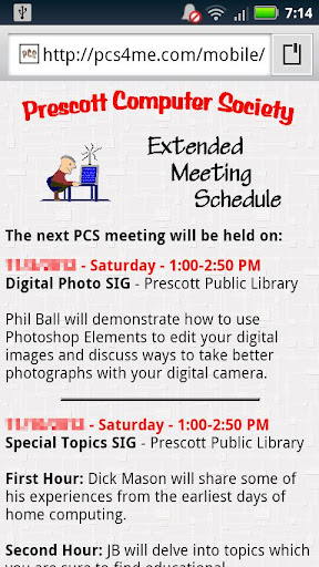 PCS Extended Meeting Schedule