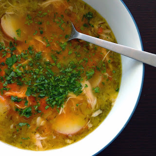 Roasted Garlic Chicken Soup with Harissa