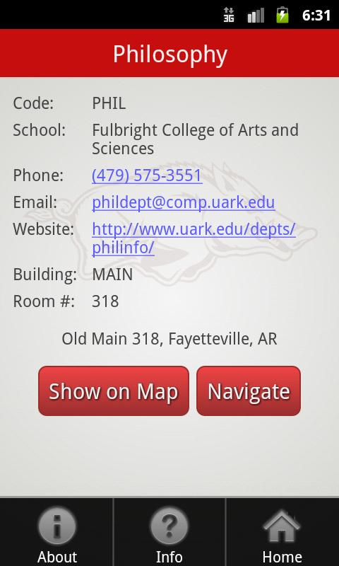 Univers of Arkansas Campus Map- screenshot