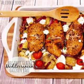 Balsamic Glazed Mediterranean Chicken Bake.