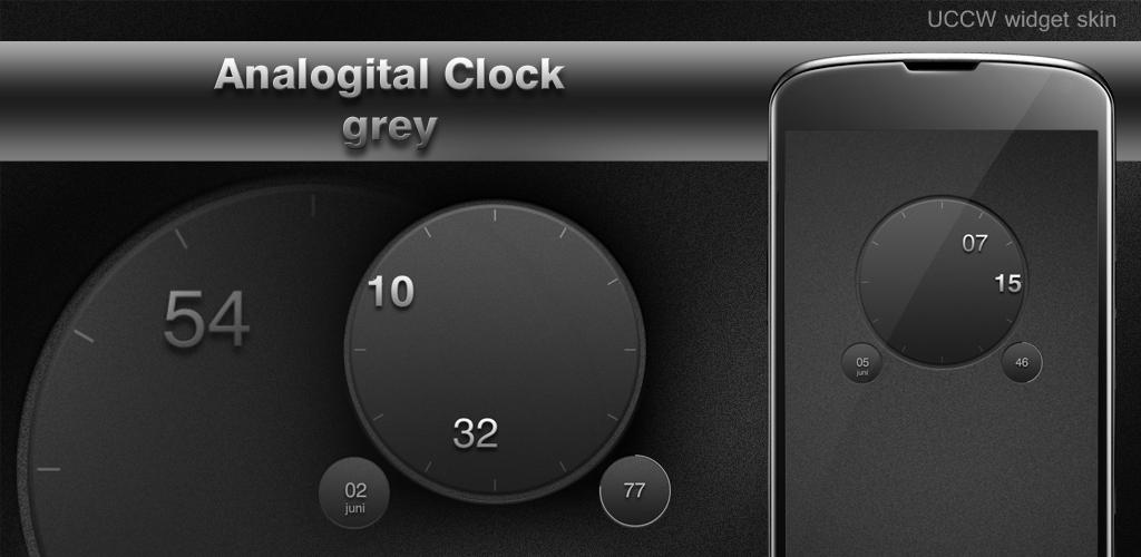 Download Analog Digital Clock grey UCCW APK latest version