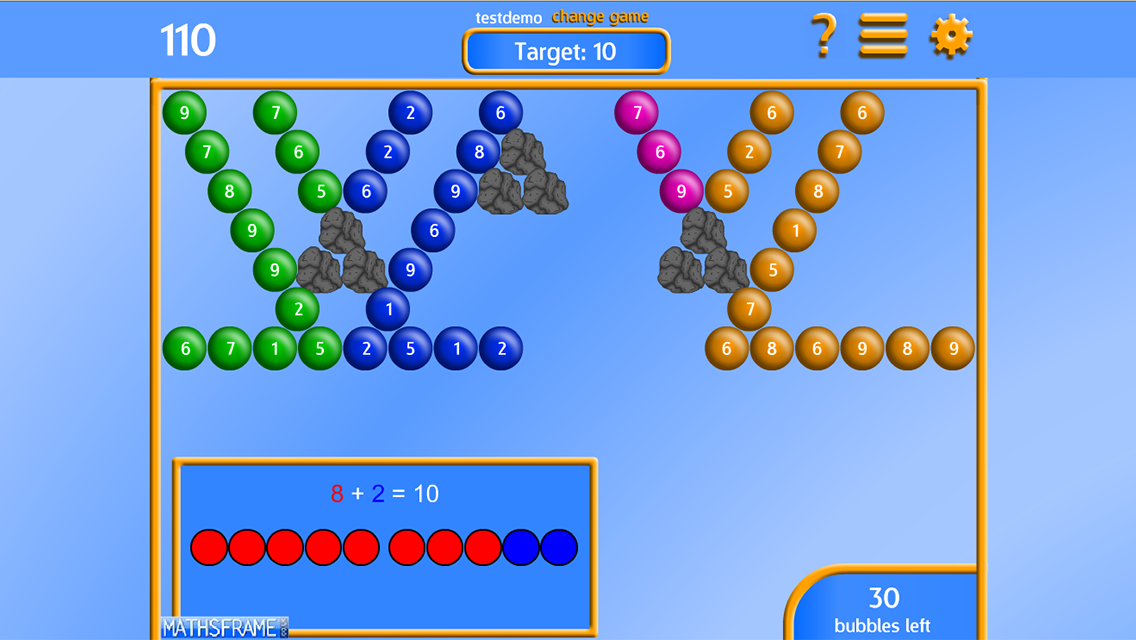bubble shooter number lines