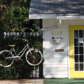 Home by Rich Eginton - Transportation Bicycles ( hanging, old, white, door, yellow, bicycle,  )