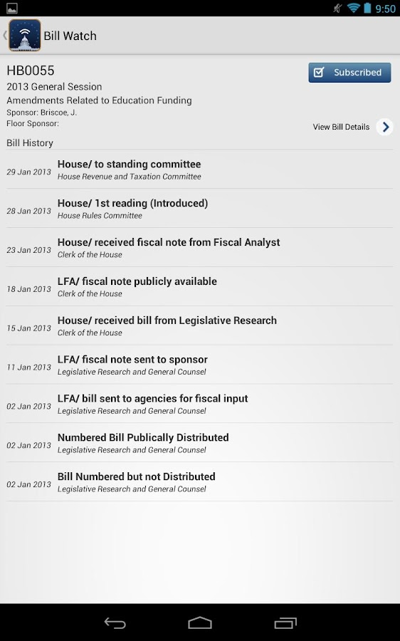 Watch Utah Legislature Bills- screenshot