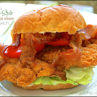 Indiana Diner-Style Chicken Fried Chicken Sandwich with Bacon, Lettuce & Tomato.