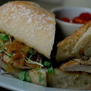 Chicken Breast Sandwiches with Caramelized Onions, Watercress, and Paprika Aïoli