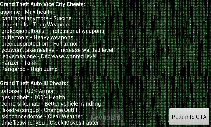 grand theft auto vice city cheat codes apk