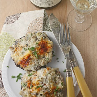 Crab-stuffed portobello mushrooms for the Chablis Challenge.