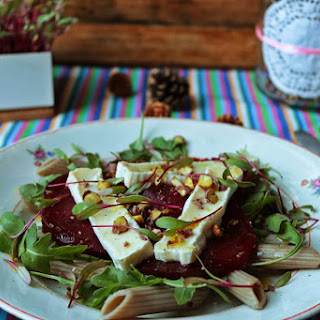 Roast Beet Salad with Sprouts and  Brique Cheese.