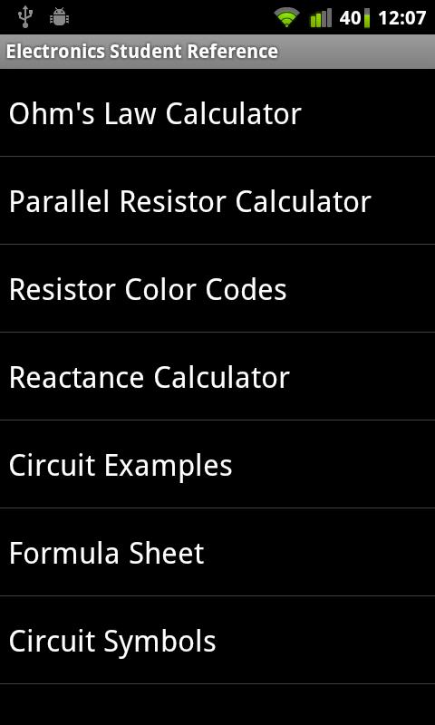 Electronics Student Reference - screenshot