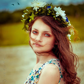 Mixed Emotion by Andra Soceanu - People Portraits of Women ( wind, blue eyes, flowers )