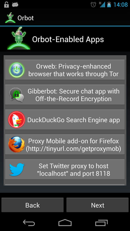 Orbot: Proxy with Tor - screenshot