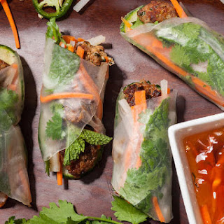Rice Paper Banh Mi with Pork Meatballs.