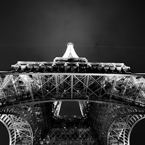 looking up by Farrah-Diba Sing - Black & White Street & Candid ( paris, eiffel tower, france, travel, travel photography )