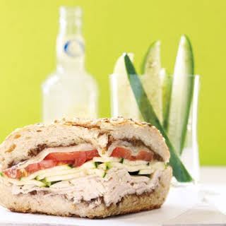 Toasted Turkey Sandwich with Quick Cucumber Pickles.