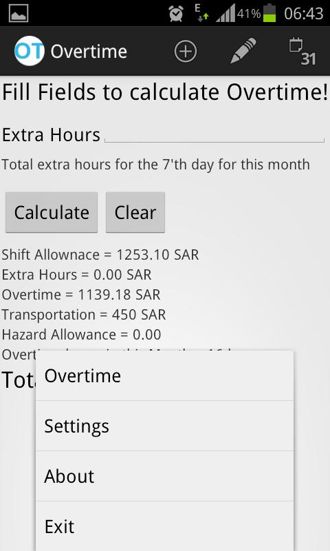 Aramco Overtime Calculator - screenshot