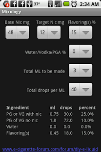 Mixology - eliquid mixing calc - screenshot thumbnail