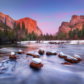 Yosemite Valley at dusk by William Lee - Landscapes Mountains & Hills ( clouds, mountain, sky, nature, sunset, waterfall, snow, trees, long exposure, dusk, river, , Spring, springtime, outdoors )