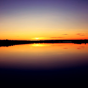 Golden Farewell by Erika Lorde - Landscapes Waterscapes ( contrast, water, sweden, nature, sunset, blueandgold, colors, warmth, summer )