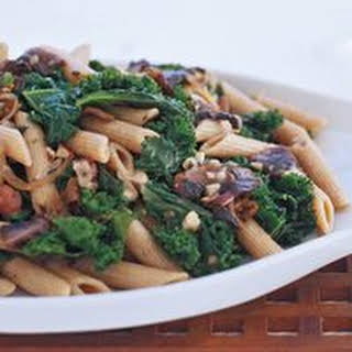 Whole Wheat Penne with Mushrooms, Kale and Hazelnut Gravy.