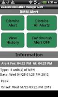 Screenshot of Diabetic Insulin Log/Alert