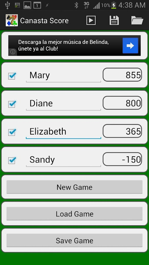 Canasta Score- screenshot