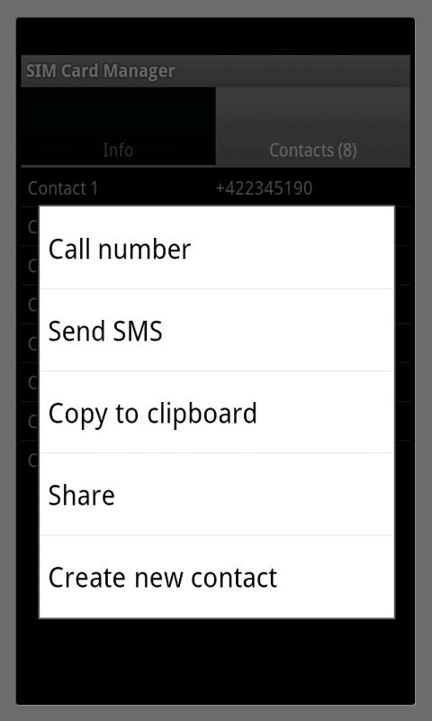SIM Card Manager - screenshot