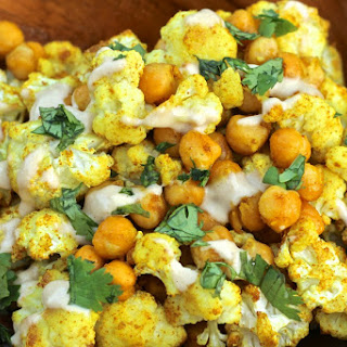 Curry Spice Roasted Cauliflower and Chickpeas [Vegan, Gluten-Free].