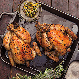 Roast Chickens with Pistachio Salsa, Peppers, and Corn