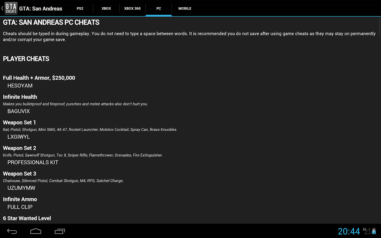 Cheats for GTA - screenshot