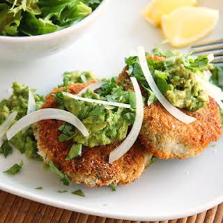 Vegan Chickpea Cakes with Mashed Avocado.