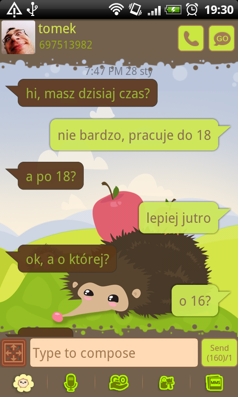 GO SMS Pro Hedgehog Theme - screenshot