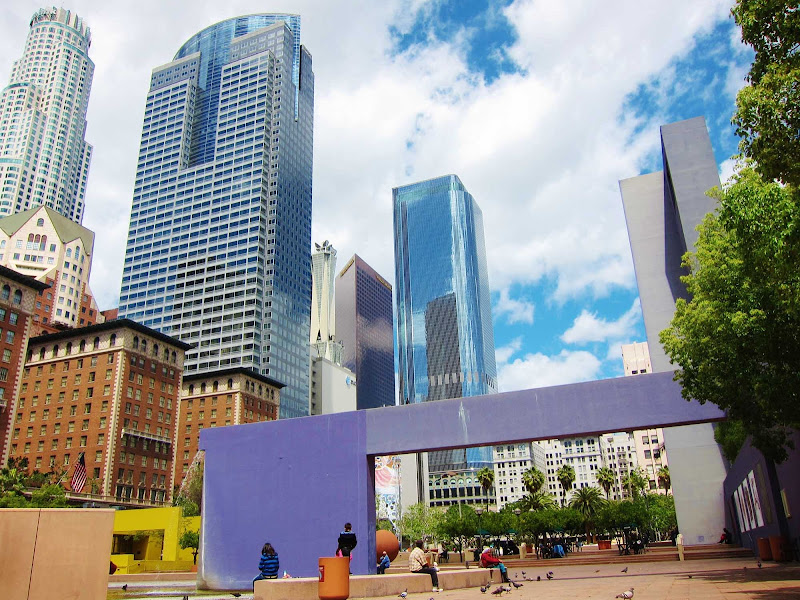 Downtown LA looking toward MacArthur Park in Los Angeles.