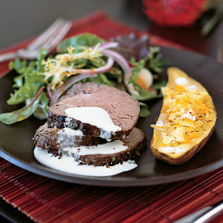 Roast Beef Tenderloin with Wasabi-Garlic Cream.