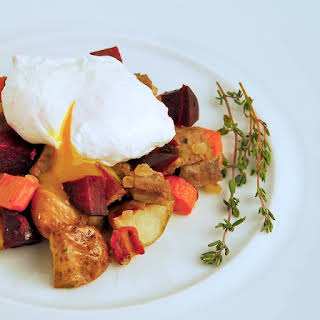 Corned Beef and Root Vegetable Hash with Poached Eggs.