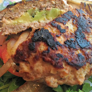 Avocado & Mozzarella Stuffed Turkey Burgers