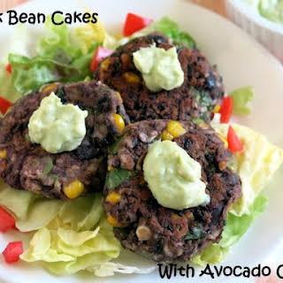 Black Bean Cakes and Avocado Cream Sauce.