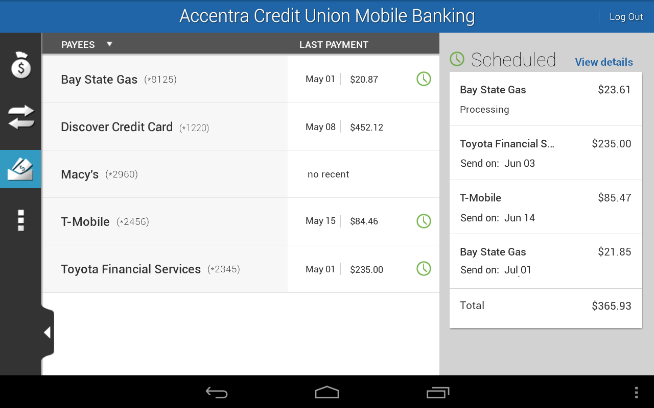 Accentra Credit Union Mobile- screenshot