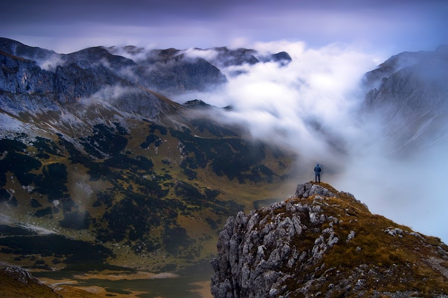 Mystic moment by Boris Michaliček - Landscapes Mountains & Hills ( clouds, mountains, sunset, outdoor, hochschwab, people, austria, alps )
