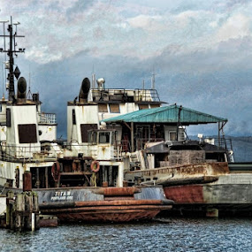 Coos Bay Fishing Business by Dorothy Valine Gram - Transportation Boats (  )