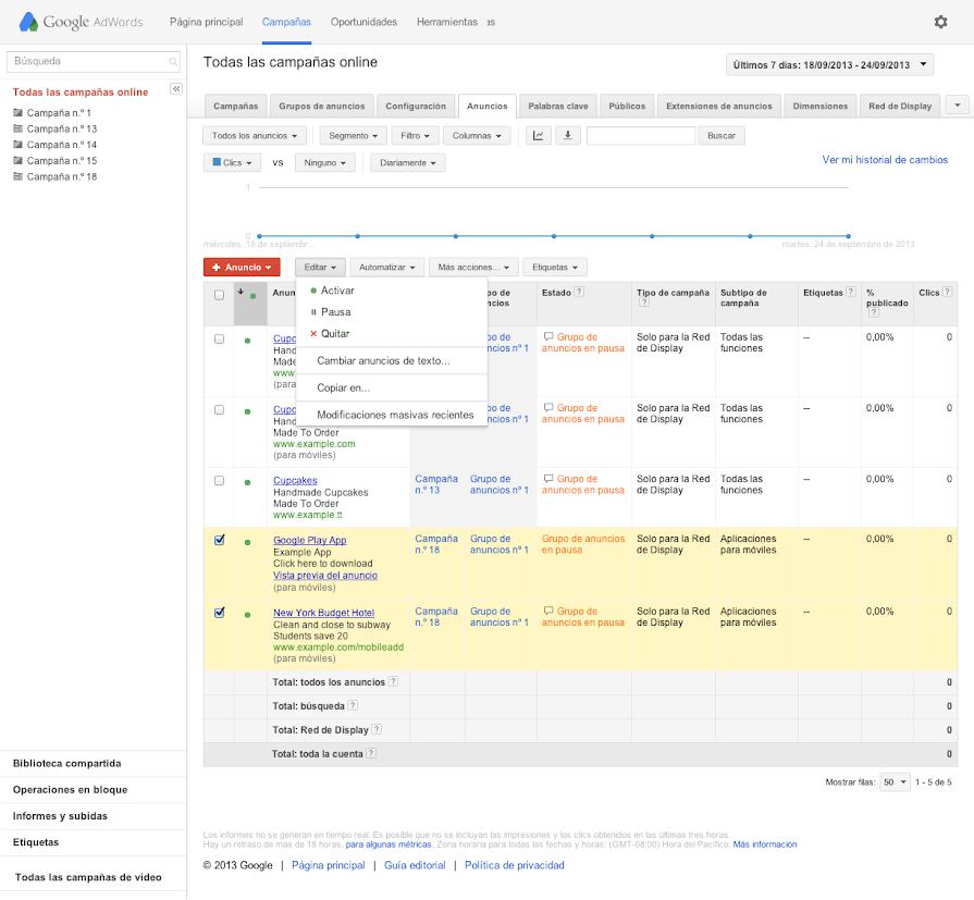 Cómo detener o reactivar los anuncios - Anterior - Ayuda de Google Ads