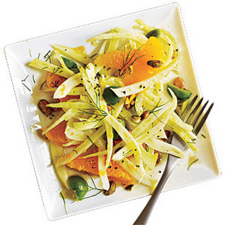 Shaved Fennel Salad with Orange, Green Olives, and Pistachios.
