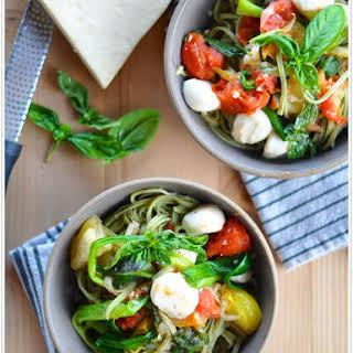 Heirloom Tomato Pasta with Scallions & Mozzarella.