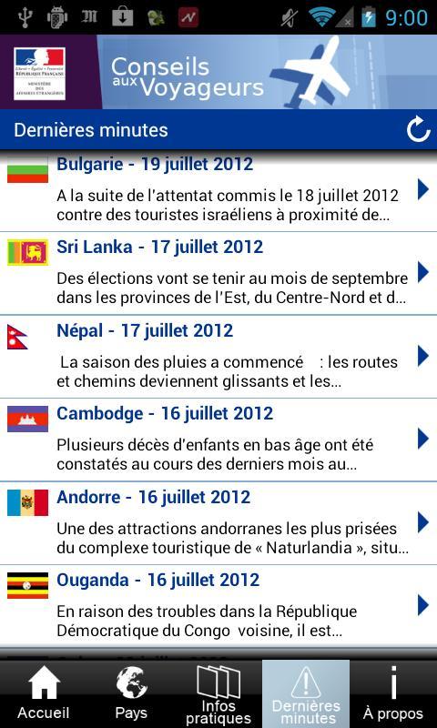 Conseils aux voyageurs - screenshot
