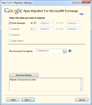 Gmail and Gmail IMAP migration step 3 with GAMME