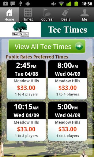 Meadow Hills Golf Tee Times