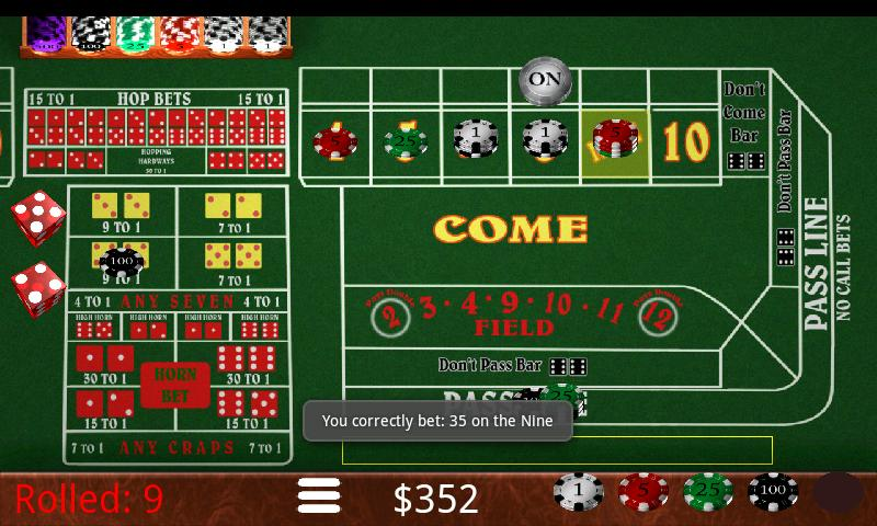 9 to 1 odds payout in craps what is little joe