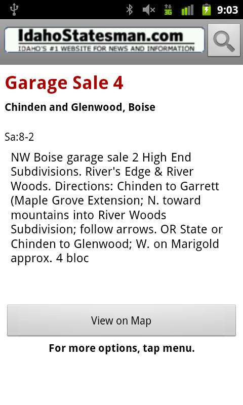 Idaho Statesman Garage Sales- screenshot